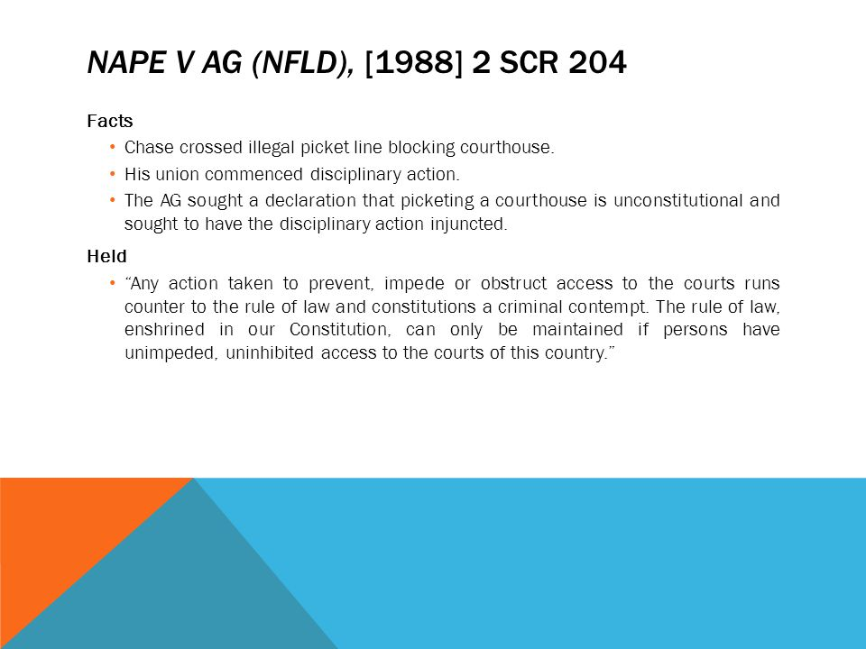 NAPE v AG (Nfld), [1988] 2 SCR 204 Facts